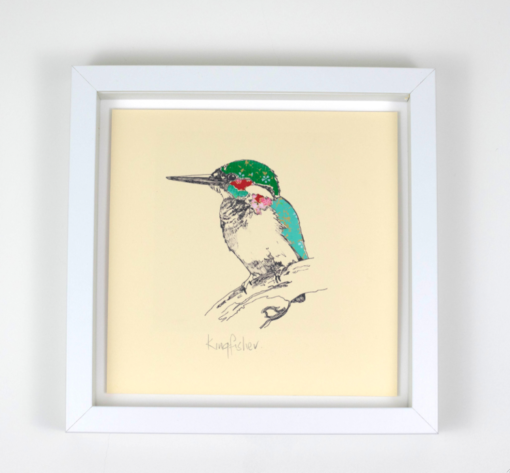 Kingfisher with Chiyogami paper applique
